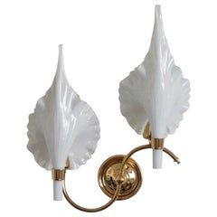 Large Italian Brass Murano Glass Double Leaf Two-Light Wall Sconce, 1950s