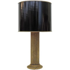 Large Italian Brass Rope Effect Table Lamp, Italy, 1970s