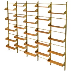 Large Italian Brassed and Teak Wall Unit by Feal