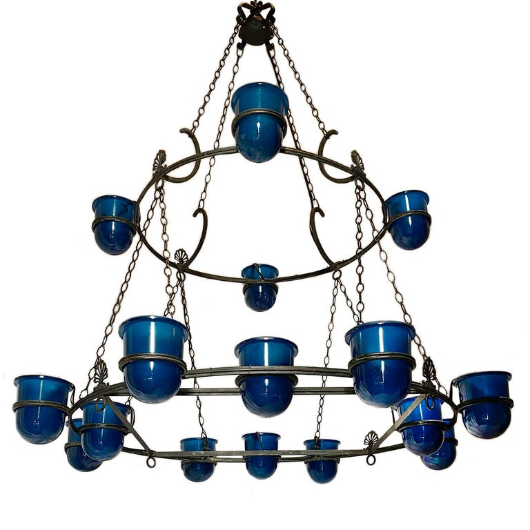 Large Italian Bronze Chandelier with Blue Glass Insets In Good Condition For Sale In New York, NY