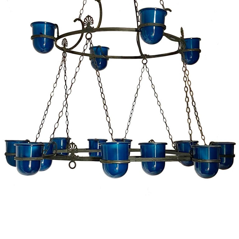 Early 20th Century Large Italian Bronze Chandelier with Blue Glass Insets For Sale