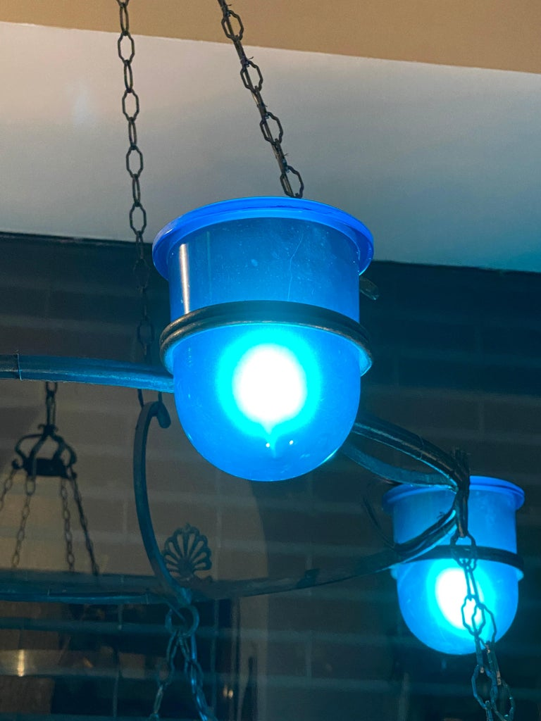 Large Italian Bronze Chandelier with Blue Glass Insets For Sale 1