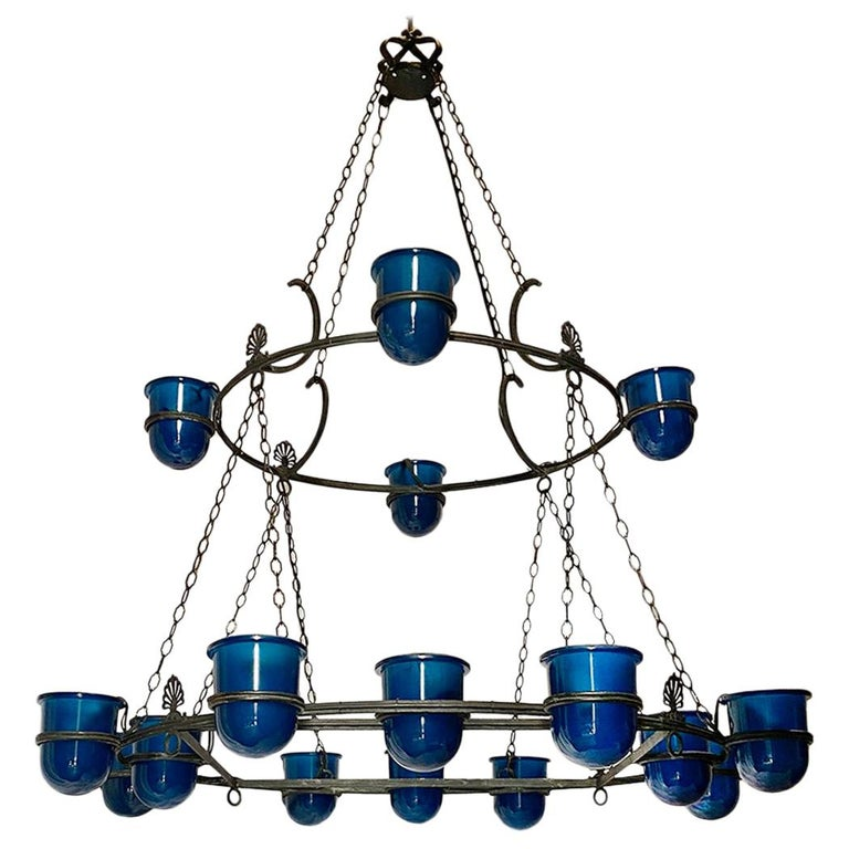 Large Italian Bronze Chandelier with Blue Glass Insets For Sale