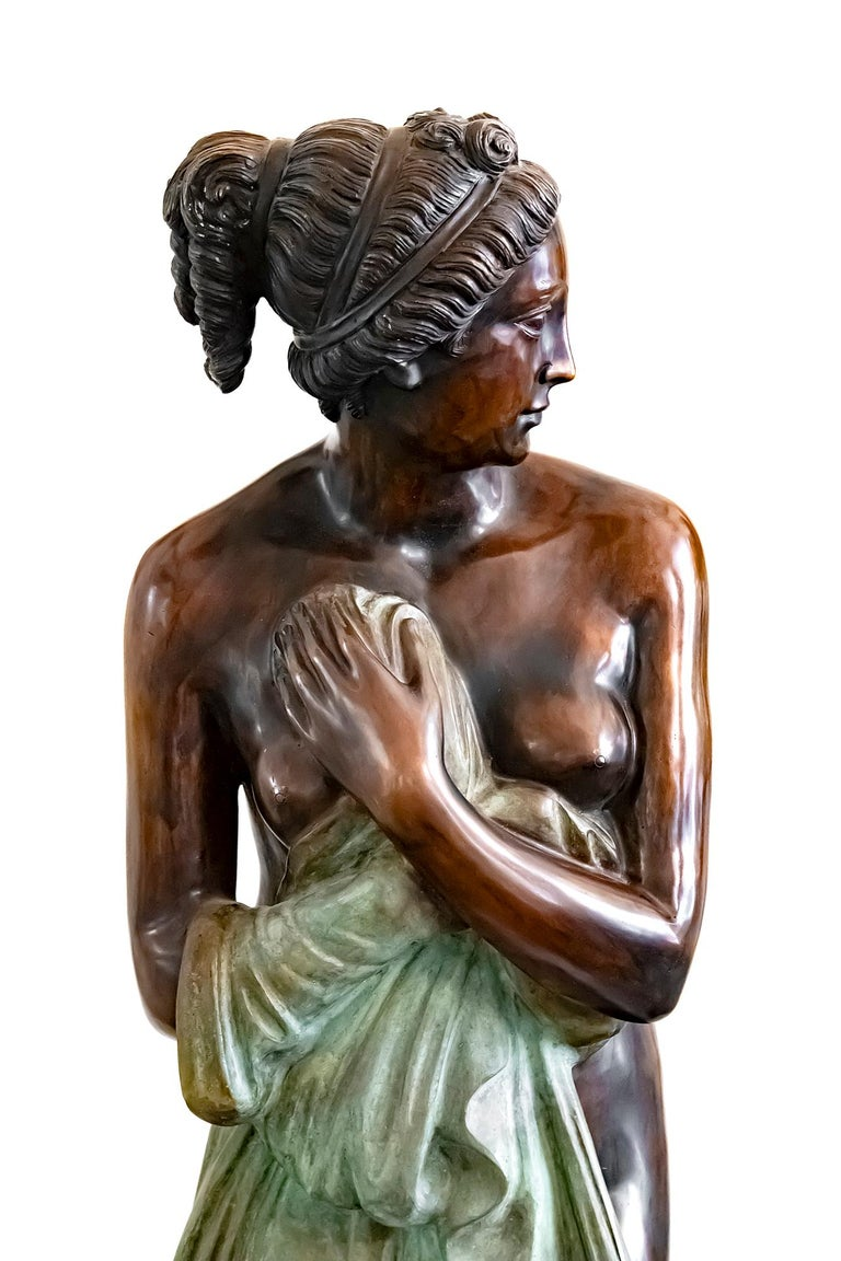 Patinated Large Italian Bronze Female Sculpture on Green Marble Base, circa 1950 For Sale
