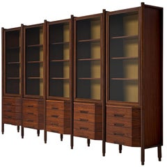 Large Italian Cabinet in Rosewood with Display and Drawers