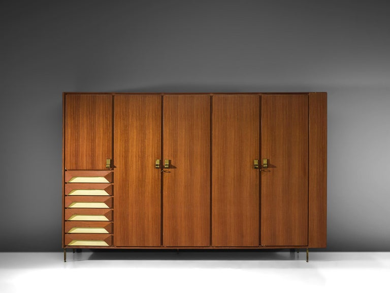 Cabinet, teak, brass, Italy, 1950s.