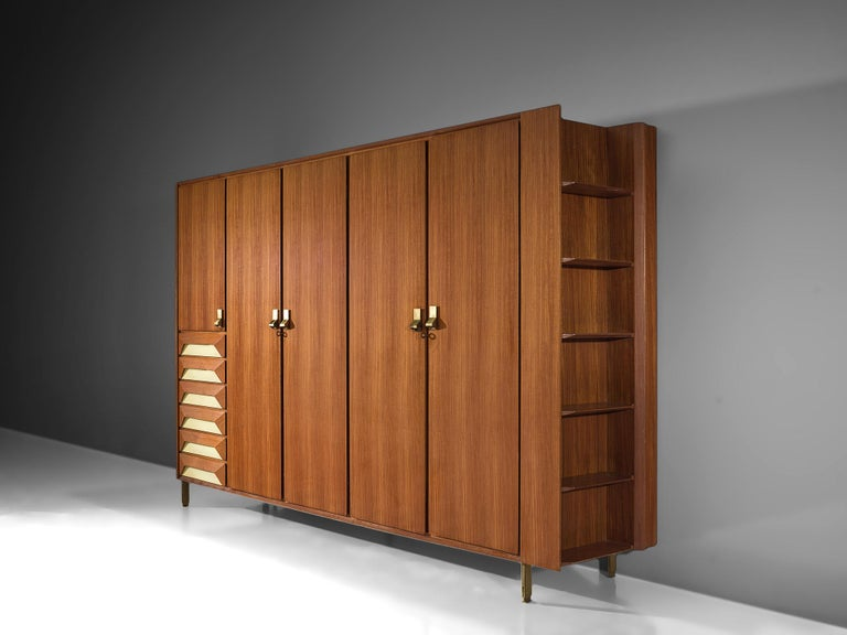Mid-Century Modern Large Italian Cabinet in Teak and Brass For Sale