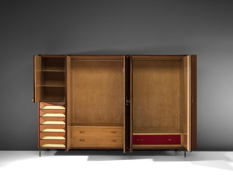 Mid-20th Century Large Italian Cabinet in Teak and Brass For Sale