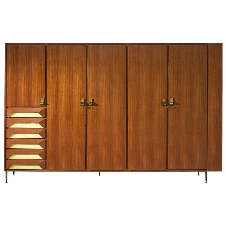 Large Italian Cabinet in Teak and Brass For Sale