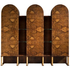 Large Italian Cabinet in Walnut Burl