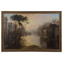 Large Italian Capriccio Oil Painting
