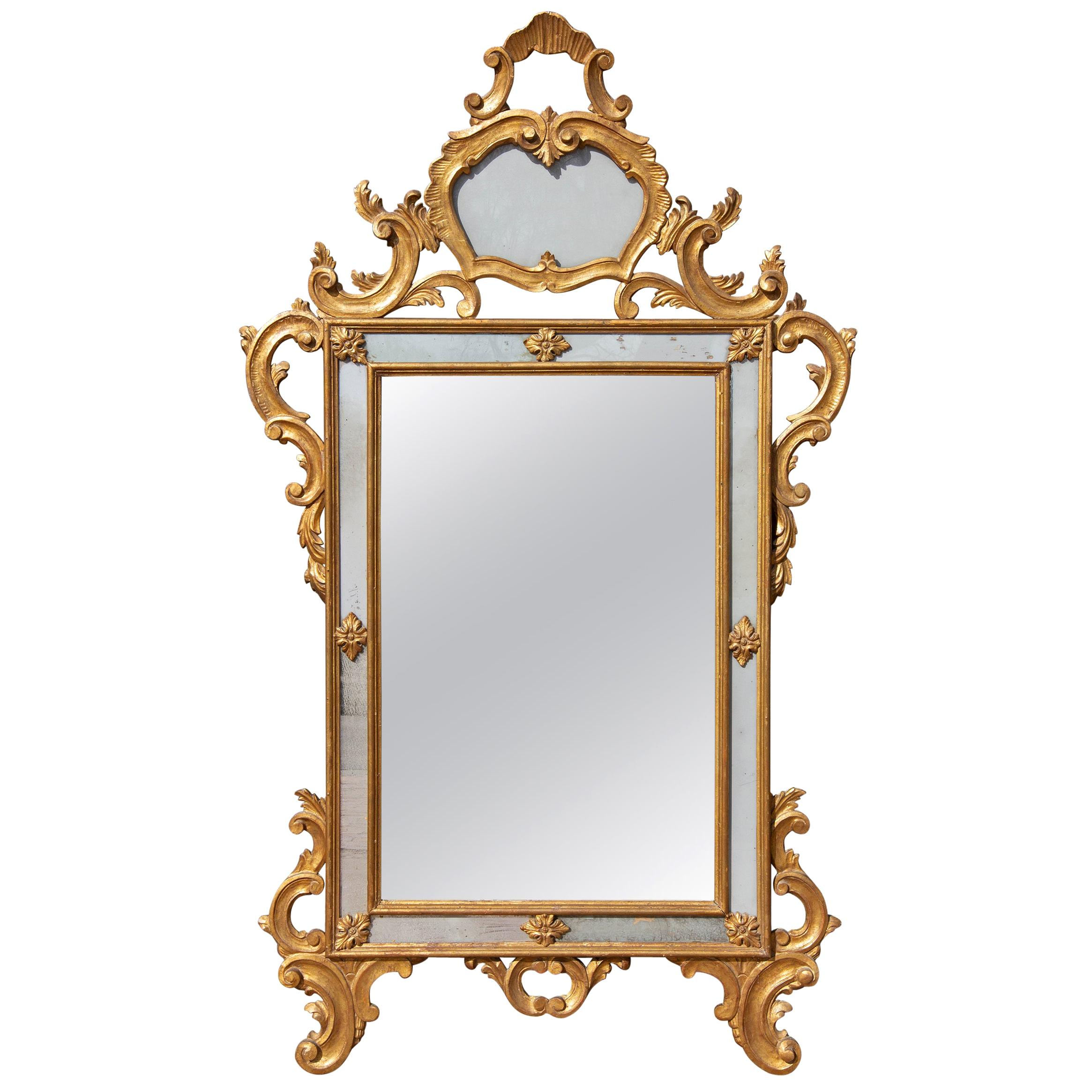 Large Italian Carved and Gilt Console Mirror