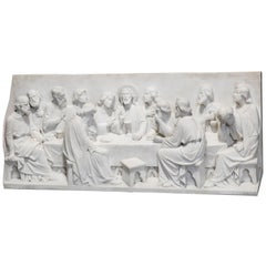 Large Italian Carved High Relief Sculpture Plaque of the Last Supper, circa 1910