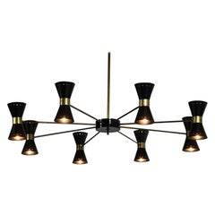 "Large Italian Chandelier ""Diabolo"" in Stilnovo Style"
