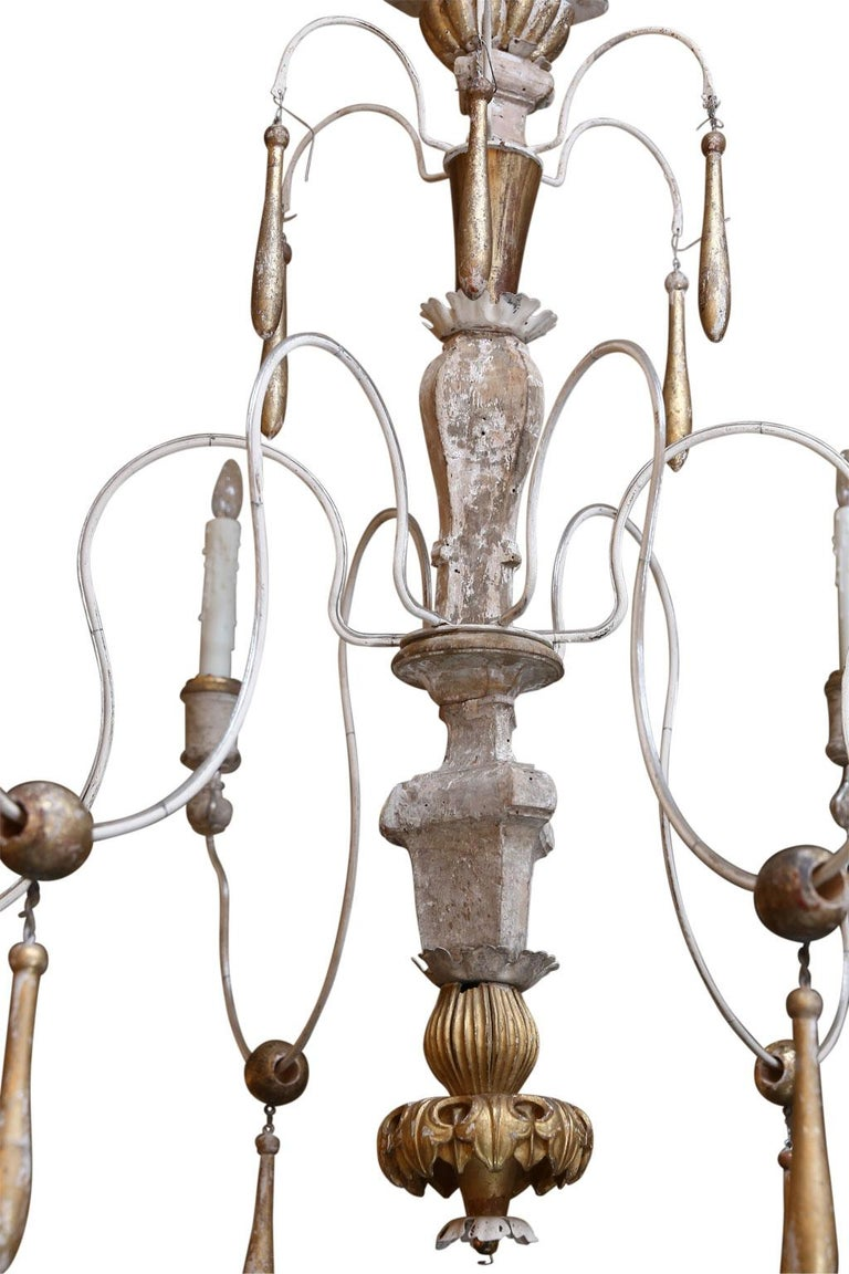 Hand-Carved Large Italian Chandelier For Sale