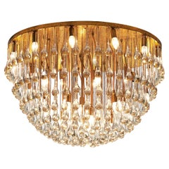 Large Italian Chandelier in Brass with Glass Drops