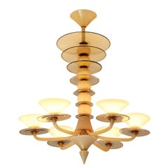Large Italian Chandelier in Lattimo Murano Glass