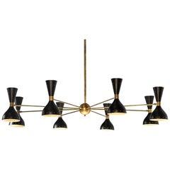 Large Italian Chandelier Stilnovo Style Design Midcentury Brass