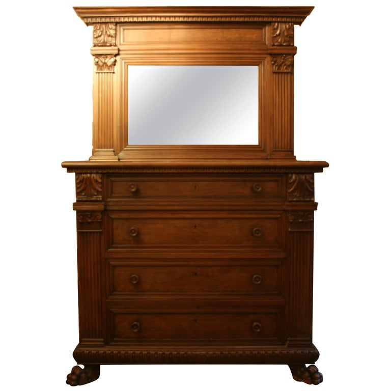 Large Italian Chest Of Drawers With Mirror Walnut Circa 1900 For