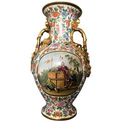Large Italian Chinoiserie Floral and Gilt Painted Vase
