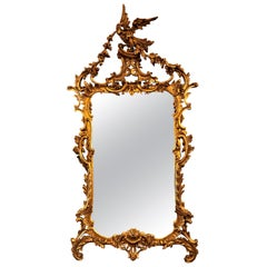 Large Italian Chippendale Giltwood Wall or Console Mirror