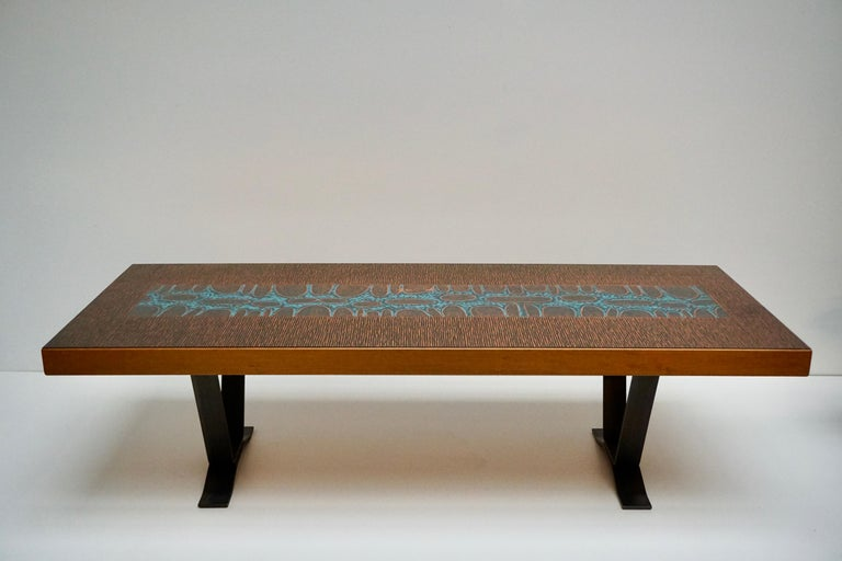 20th Century Large Italian Coffee Table with Copper Top For Sale