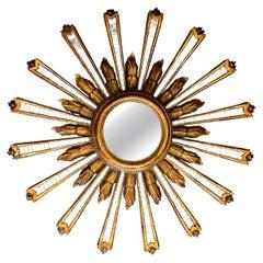 Large Italian Convex Sunburst Giltwood Wall Mirror