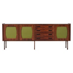 Large Italian Credenza in Wood, Felt, Glass and Metal, 1960s
