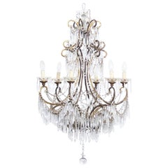 Art Deco Italian Crystal and Brass Chandelier, 1920s