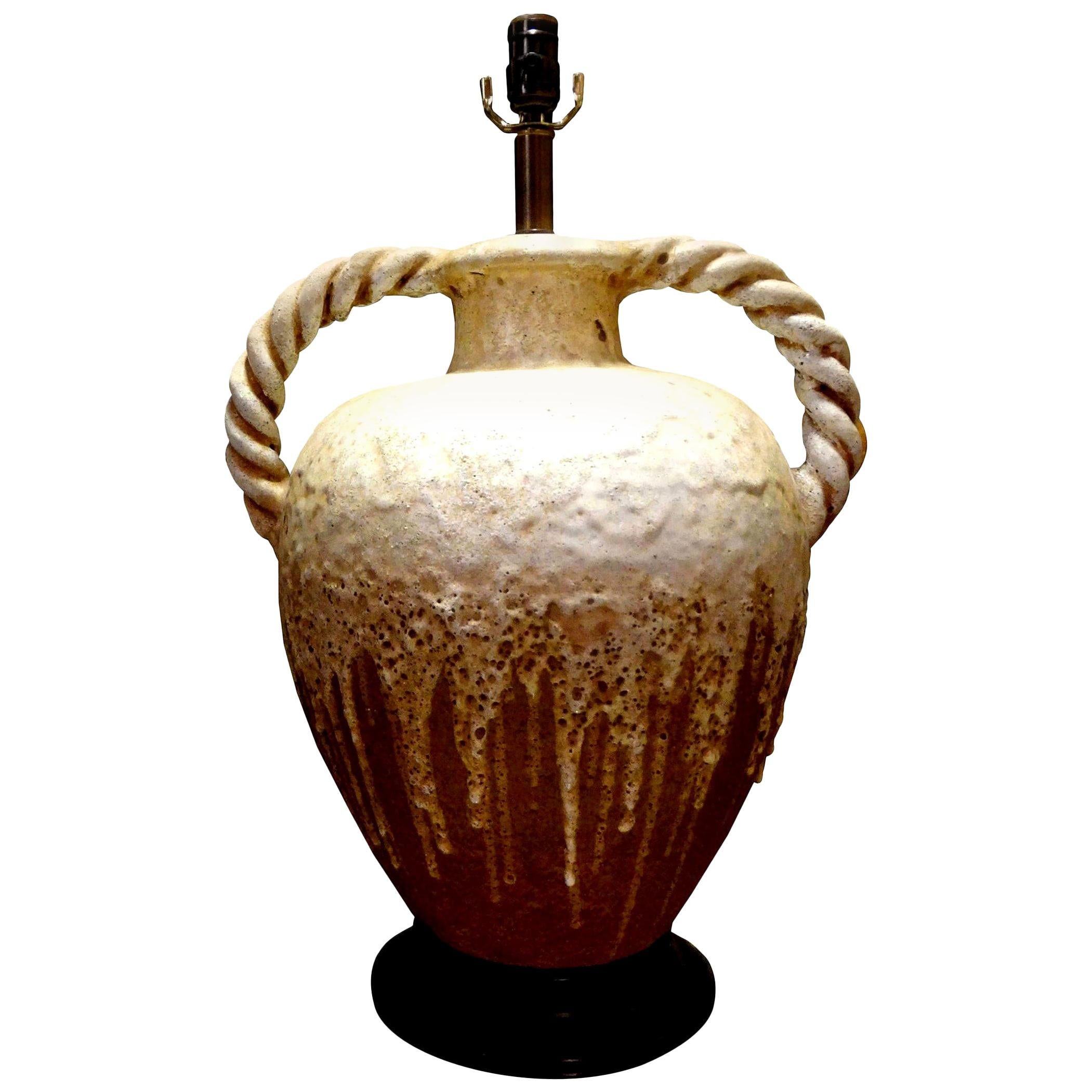 Large Italian Drip Glaze Pottery Lamp with Twisted Handles Attributed to Fantoni