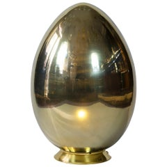 Large Italian Egg Shape Brass and Glass Table Lamp