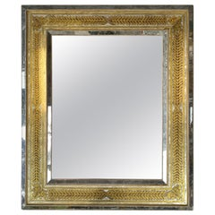 Large Italian Églomisé Mirror with Gilt Hand-Painted Laurel Leaf Motif, 1940s