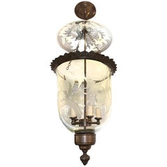Large Italian Etched Glass Lantern