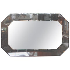 Large Italian Fontana Arte Style Horizontal Beveled Mirror