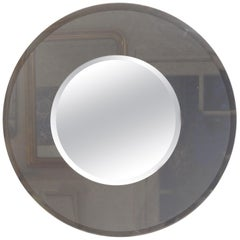 Large Italian Fontana Arte Style Round Beveled Mirror