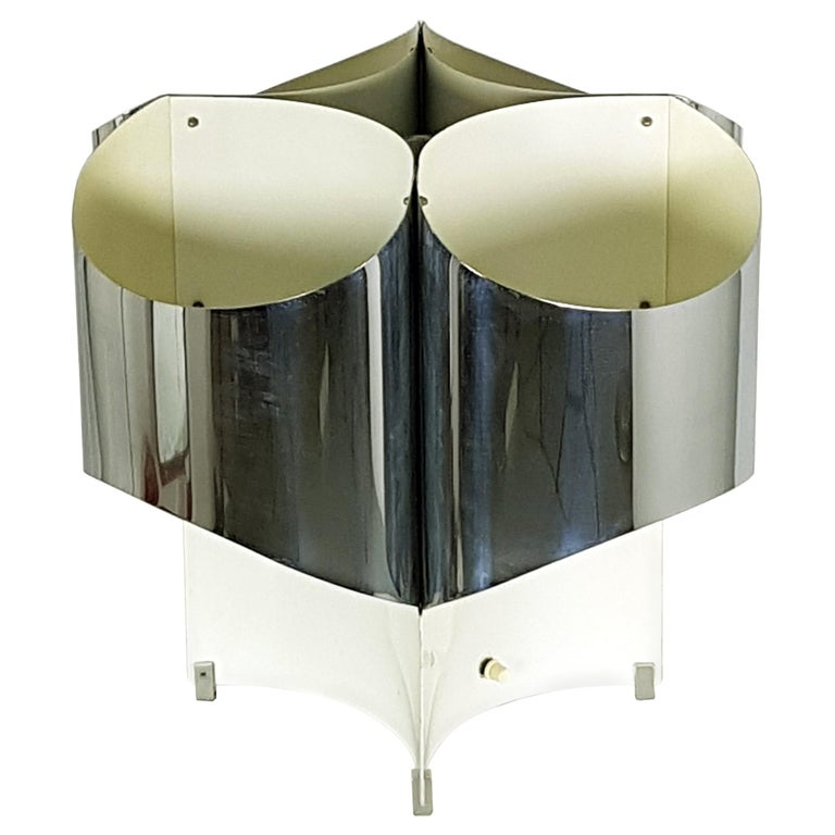 Large Italian Four-Light Chromed and Painted Metal Table Lamp For Sale