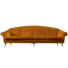 Large Italian Four-Seat Sofa in Bronze Orange Velvet