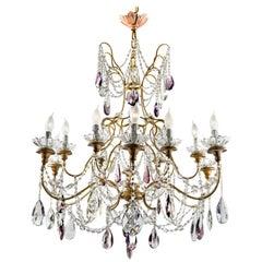 20th Century Large Italian Crystal Chandelier Two-Tiered Gilt Frame Twelve-Light