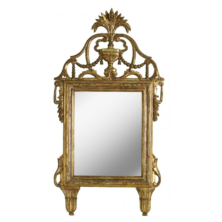 19th Century Large Italian Giltwood Antique Mirror For Sale