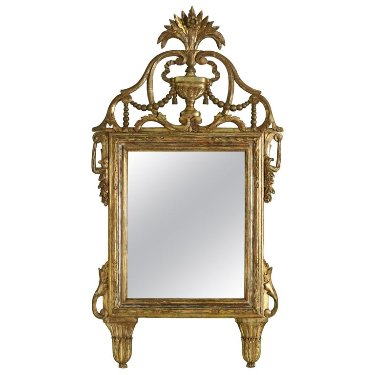 Large Italian Giltwood Antique Mirror For Sale