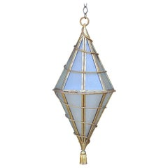 Large Italian Glass and Gilt Metal Geometric Hanging Lantern