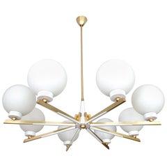 UNIQUE 1950s Stilnovo Pendant Light, Glass Brass