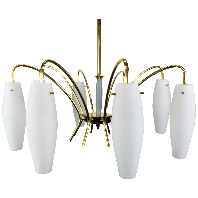 Large Italian Glass Sunburst Chandelier, Stilnovo Style, 1950s