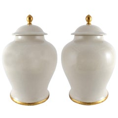 Paolo Marioni Large Italian Glazed Ceramic Jar with Gold-Leaf Accents