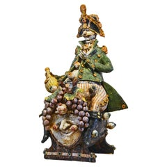 Large Italian Glazed Ceramic Sculpture of a Drinking General by Diego Poloniato
