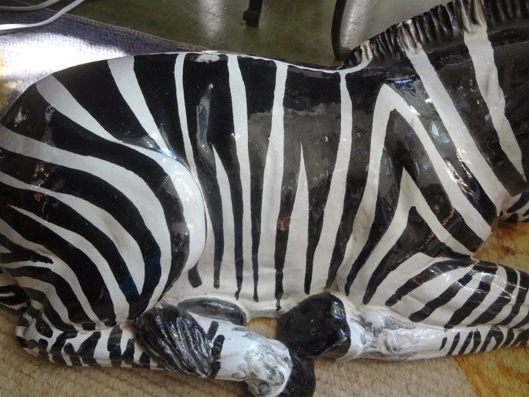 Hollywood Regency Monumental Italian Glazed Terracotta Zebra Figure For Sale