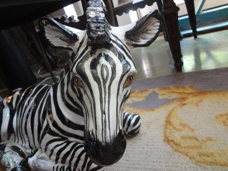 Monumental Italian Glazed Terracotta Zebra Figure For Sale 2