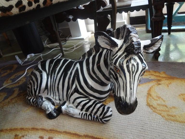 Monumental Italian Glazed Terracotta Zebra Figure For Sale 3