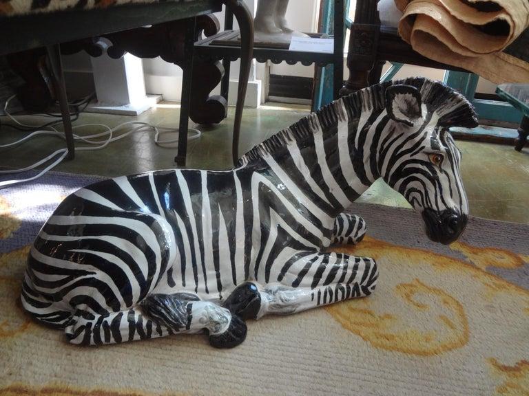 Monumental Italian Glazed Terracotta Zebra Figure For Sale 4