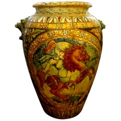 Large Italian Glazed Terracotta Urn with Stylized Horse